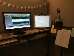 Photo of Natalie Cooper's professional home voiceover studio booth.